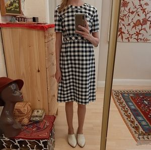 Vintage Gingham Mod Handmade 60s Dress S